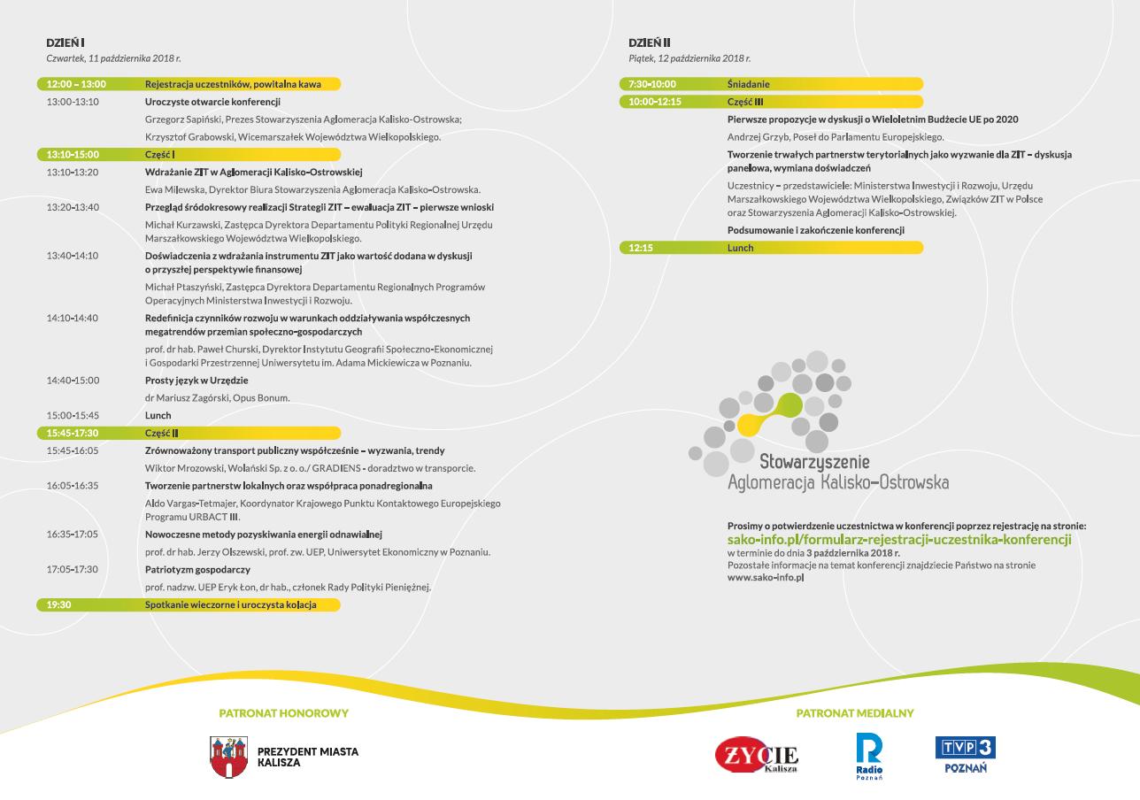 """agenda konferencja 2018 - """"Wpływ funduszy unijnych narozwój lokalny zeszczególnym uwzględnieniem Zintegrowanych Inwestycji Terytorialnych"""" - konferencja 11-12 października, Pałac Tłokinia Kościelna"""