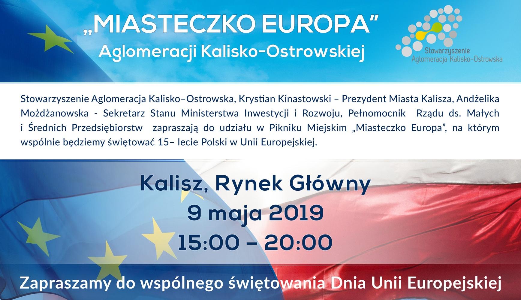 """plakat poziom podglad finalne - Zapraszamy na piknik """"Miasteczko Europa"""" Aglomeracji Kalisko-Ostrowskiej"""