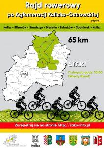 plakat a0 1414x1000 212x300 - Rajd rowerowy po Aglomeracji Kalisko - Ostrowskiej - etap I (Kalisz - Blizanów - Stawiszyn - Mycielin - Żelazków - Opatówek - Kalisz)