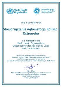 certificate who 1 212x300 - Jesteśmy członkiem Światowej Organizacji Zdrowia wramach Światowej Sieci Miast iGmin Przyjaznych Osobom Starszym !