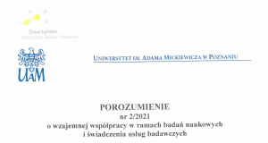 porozumienie z uam 1 strona 300x160 - Współpracujemy z Uniwersytetem im. Adama Mickiewicza w Poznaniu !