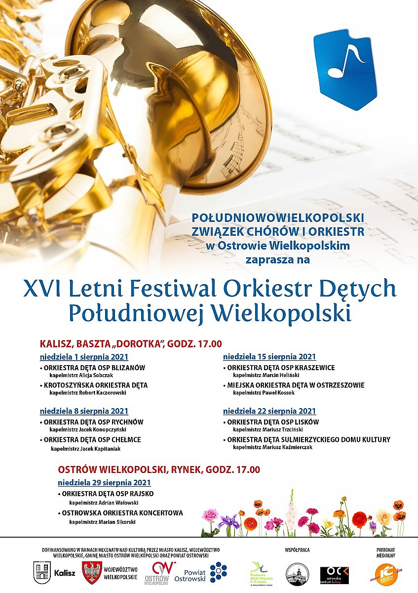 xvi festiwal orkiestr detych plakat b2 - XVI Letni Festiwal Orkiestr Dętych Południowej Wielkopolski!